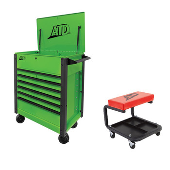 ATD 70400S 7-Drawer Flip-Top Tool Cart Green with FREE Mechanic´s Padded Creeper Seat