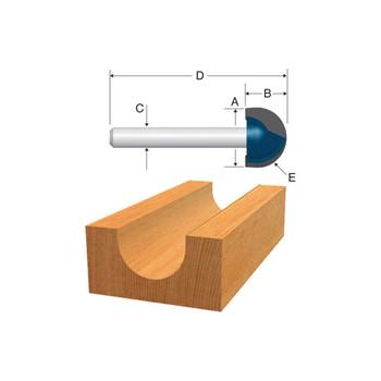 Bosch 85446MC 1/2 in. x 3/8 in. Core Box Carbide-Tipped Router Bit