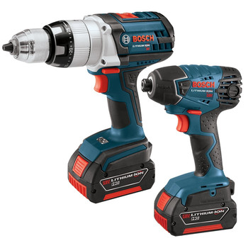 Bosch CLPK221-180 18V Cordless Lithium-Ion 1\/2 in. Hammer Drill and Impact Driver Combo Kit