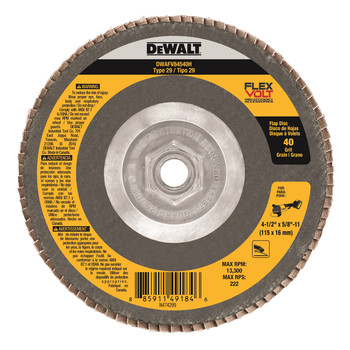 Picture of Dewalt DWAFV84540H T29 FLEXVOLT Flap Disc 4-12 in x 58 in x 11 40-Grit