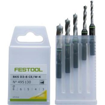 Festool 495130 3mm - 8mm Stubby Brad Point Drill Bit Set
