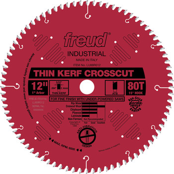 Freud LU88R012 12 in. 80 Tooth Thin Kerf Fine Finish Crosscut Saw Blade
