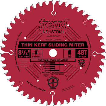 Freud LU91R008 8-1/2 in. 48 Tooth Thin Kerf Sliding Compound Miter Saw Blade