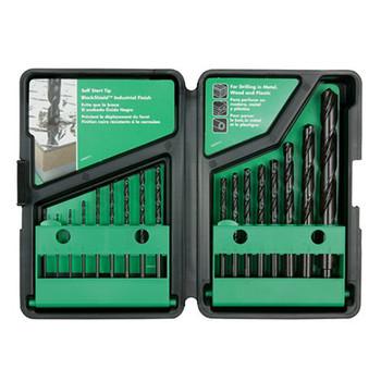 Hitachi 728081 17-Piece Black Oxide Shield Split Point Drill Bit Set