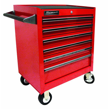 Homak RD04062601 27 in. 6 Drawer Rolling Cabinet (Red)