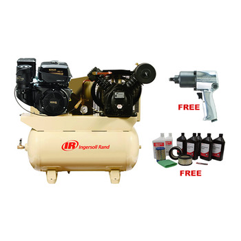 Ingersoll Rand 2475F14GTS 2-Stage Gas-Powered 14 HP Kohler Air Compressor with Start Up Kit & Impact Wrench Sale $2499.99 SKU: ircn2475f14gts ID# 2475F14GTS :