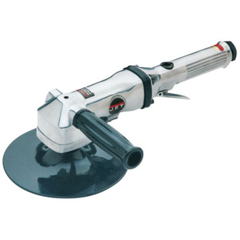 Picture of 7 in Angle Air Sander - JSG-0470 Heavy-duty balanced ball bearing construction Dynamic counterweight vibration isolators for low vibration sanding Dead handle that mounts for left or right hand operation Large sander disc for large surface area preparation