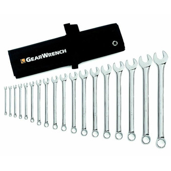GearWrench 81917 18-Piece 12-Point SAE Long Pattern Combination Non-Ratcheting Wrench Set