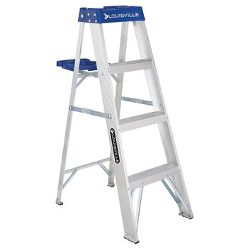 Picture of Louisville AS2104 4 ft Type I Duty Rating 250 lbs Load Capacity Aluminum Step Ladder with Molded Pail Shelf