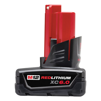 Milwaukee 48-11-2460 M12 REDLITHIUM XC 12V 6.0 Ah Extended Capacity Lithium-Ion Battery Pack