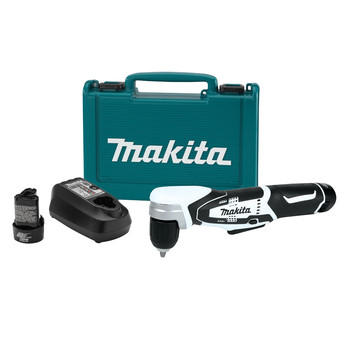 Picture of 12V MAX Lithium-Ion Cordless 38 in Right Angle Drill Kit 2 12V MAX Lithium-Ion Battery - BL1014 12V MAX Lithium-Ion Charger - DC10WB Makita-built motor delivers up to 100 in-lbs of max torque Variable speed 0 - 800 RPM for a wide range of drilling and driving applications Compact and ergonomic design at only 12-14 in long Weighs only 25 lbs with battery for reduced operator fatigue Compact 3-12 in
