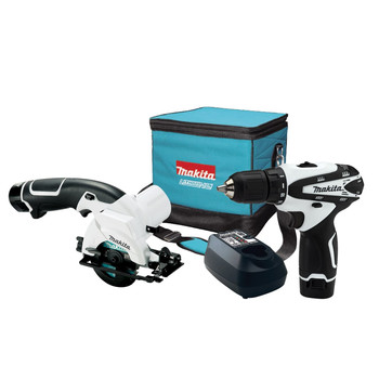 Picture of 12V 38 in Cordless Drill Driver - FD02W 3-38 in Cordless Circular Saw - SH01W 2 12V Max Lithium-Ion Batteries - BL1014 Charger - DC10WB Tool Holster - 168467-9 20T Cabide-Tipped Blade - A-95021 2 Double Ended Phillips Bit Contractor Bag u12V MAX Cordless 38 in Drill Driver - FD02Wu 2-speed gear selection with variable speed in each range 0 - 350 RPM or 0 - 1300 RPM 16 torque settings plus drill mo