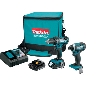 Makita CT225R-R LXT 18V 2.0 Ah Cordless Lithium-Ion Compact Impact Driver and 1/2 in. Drill Driver Combo Kit
