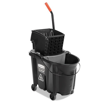 Picture of Rubbermaid 1863896 35 Quart WaveBrake Side-Press WringerBucket Combo Black
