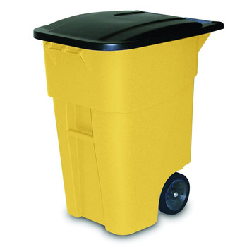 Rubbermaid 9W27YEL Brute 50-Gallon Square Plastic Rollout Container (Yellow)