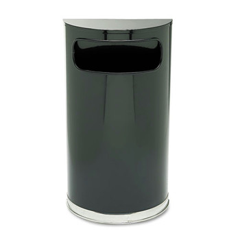 Rubbermaid SO820BPL 9 Gal. European/Metallic Series Half-Round Receptacle (Black)