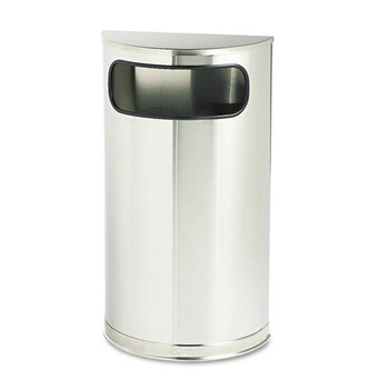 Rubbermaid SO8SSSPL 9 Gal. European/Metallic Series Half-Round Receptacle (Satin Stainless)