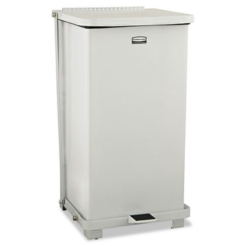 Picture of Rubbermaid ST12ERBWHI Defenders 12 Gal Biohazard Heavy-Duty Step Can White