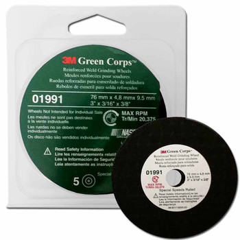 Picture of 3M 1991 Green Corps Reinforced Weld Grinding Wheel 3 in x 316 in x 38 in 5-Pack
