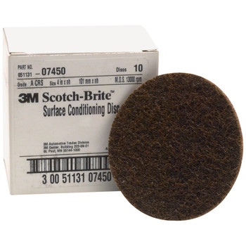 Picture of 3M 7450 Scotch-Brite Surface Conditioning Disc Brown 4 in Coarse 10-Pack