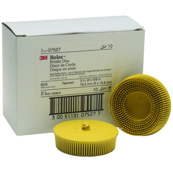 Picture of 3M 7527 Scotch-Brite Roloc Bristle Disc Yellow 3 in Medium 10-Pack
