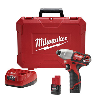 Milwaukee 2462-22 M12 12V Cordless Lithium-Ion 1/4 in. Hex Impact Driver Kit image number 0