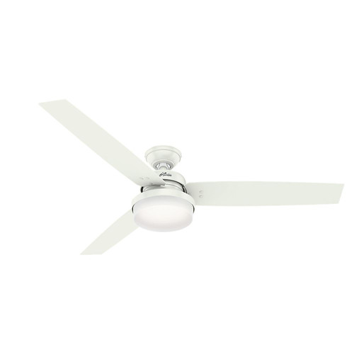 Hunter 59456 60 in. Sentinel Fresh White Ceiling Fan with Light and Handheld Remote image number 0