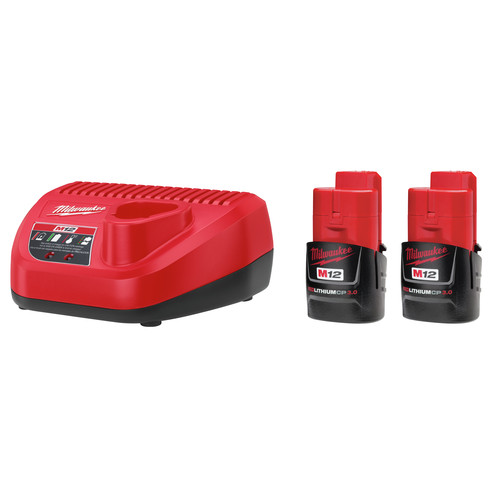 Milwaukee 48-11-2432P M12 REDLITHIUM CP 3 Ah Lithium-Ion Compact Battery (2-Pack) and Charger Kit image number 0