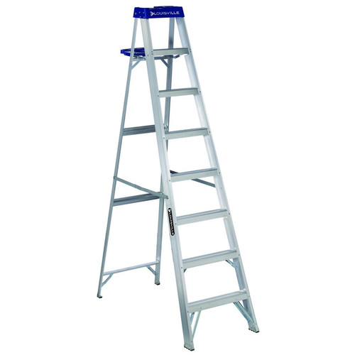 Louisville AS2108 8 ft. Type I Duty Rating 250 lbs. Load Capacity Aluminum Step Ladder with Molded Pail Shelf