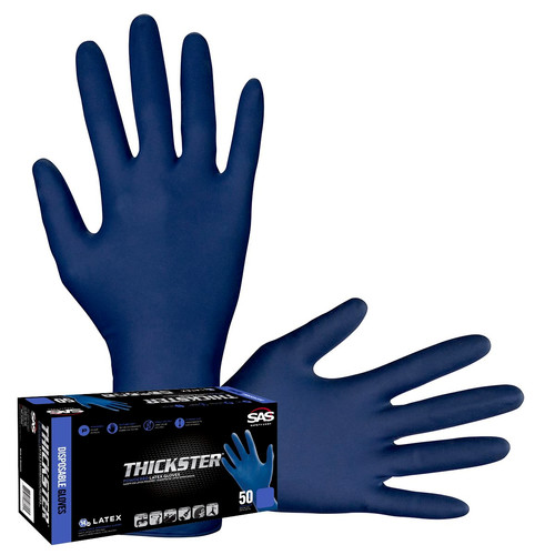 SAS Safety 6604 50-Piece Thickster Powdered Latex Exam Grade Gloves Set - XL, Blue image number 0