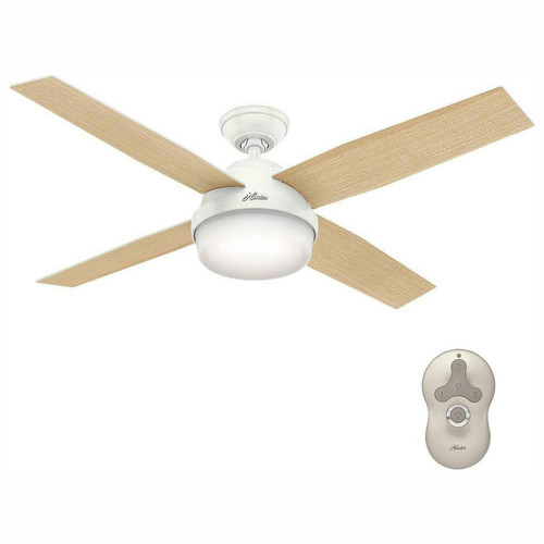 Hunter 59217 52 in. Dempsey Fresh White Ceiling Fan with Light and Remote