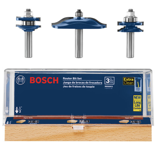 Bosch RBS003 1/2 in. Carbide-Tipped Ogee Door and Cabinetry 3-Piece Router Bit Set image number 0