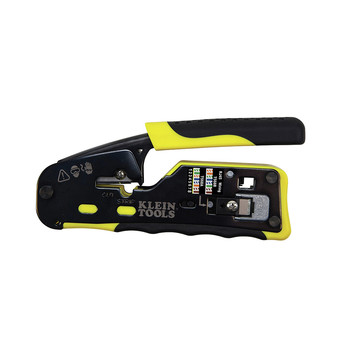 Klein Tools VDV226-110 Ratcheting Cable Crimper/Stripper/Cutter for Pass-Thru Connectors
