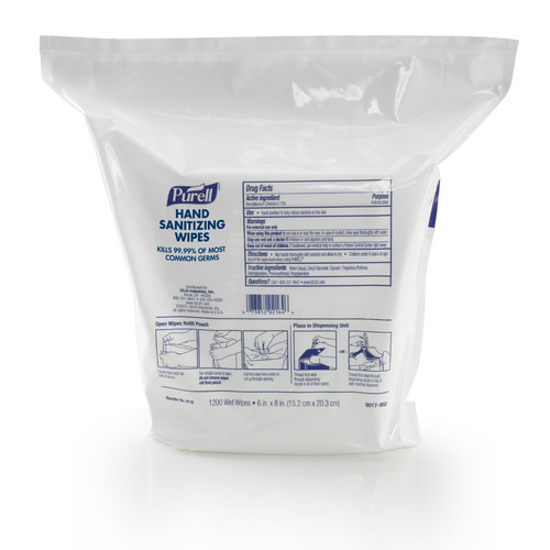 PURELL 9118-02 1200-Piece/Refill Pouch 2 Refills/Carton 6 in. x 8 in. Hand Sanitizing Wipes - White, Fresh Citrus image number 0