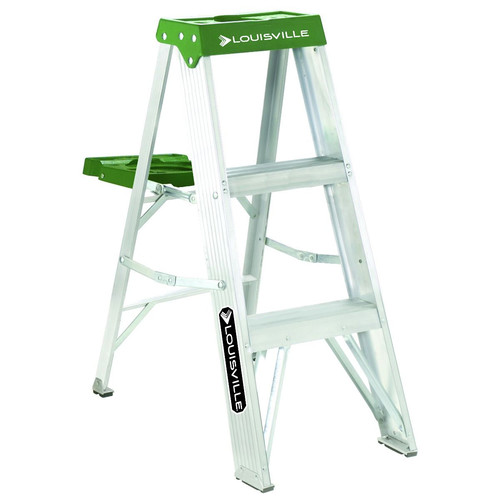 Louisville AS4003 3 ft. Type II Duty Rating 225 lbs. Load Capacity Aluminum Step Ladder with Molded Pail Shelf