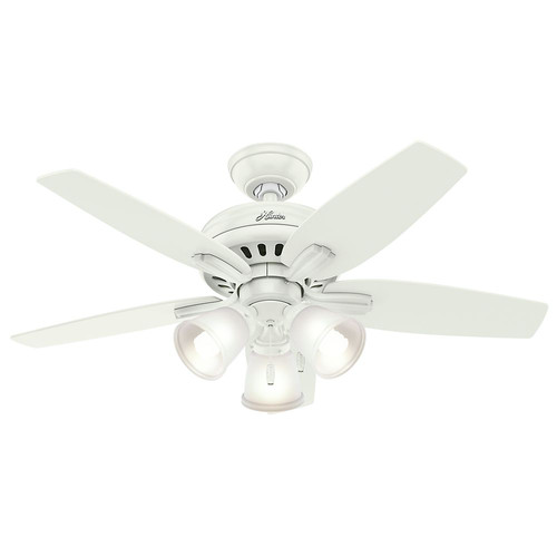 Hunter 51083 42 in. Newsome Fresh White Ceiling Fan with Light