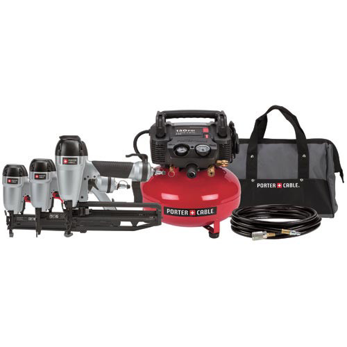 Factory Reconditioned Porter-Cable PC3PAKR Tradesman 2-1/2 in. Finish Nailer, 1-3/8 in. Brad Nailer, 1 in. Stapler and Compressor Combo Kit