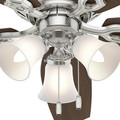 Hunter 53328 52 in. Builder Low Profile Brushed Nickel Ceiling Fan with Light image number 9