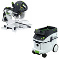 Festool KS 120 EB Kapex Sliding Compound Miter Saw with CT 36 E 9.5 Gallon HEPA Dust Extractor