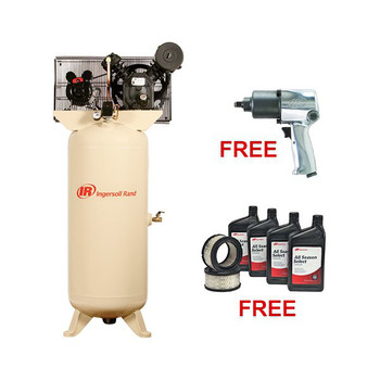 Ingersoll Rand 2340L5-VTS Electric-Driven Two-Stage-Standard, 5HP with FREE Air Impact Wrench & Start Up