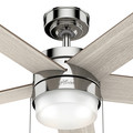 Hunter 59621 52 in. Claudette Polished Nickel Ceiling Fan with LED Light Kit and Pull Chain image number 10