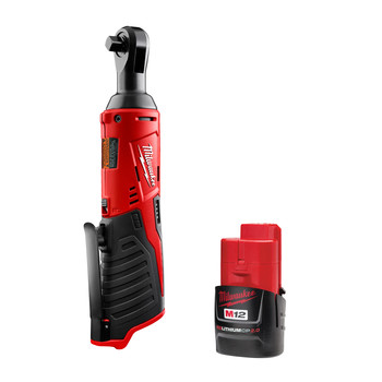 Milwaukee 2457-2420-BNDL M12 Cordless Lithium-Ion 3/8 in. Ratchet and 2 Ah Lithium-Ion Battery