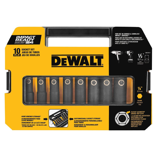 Dewalt DW22812 10 Piece 1/2 in. Drive Impact Ready Socket Set