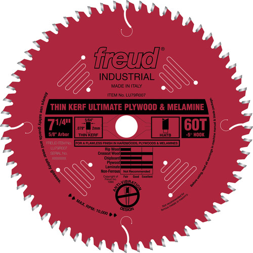 Freud LU79R007 7 in. 60 Tooth Thin Kerf Ultimate Plywood and Melamine Saw Blade