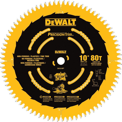 Dewalt DW3219PT 10 in. 80 Tooth Precision Trim Fine Crosscutting Saw Blade