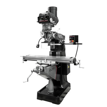 JET 894162 ETM-949 Mill with 3-Axis Newall DP700 (Quill) DRO and X, Y-Axis JET Powerfeeds and USA Made Air Draw Bar