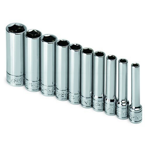 SK Hand Tool 4911 10-Piece 1/4 in. Drive 6-Point Deep SAE Socket Set