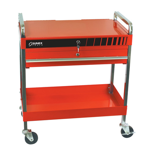 Sunex 8013A Service Cart with Locking Top and Drawer (Red) image number 0