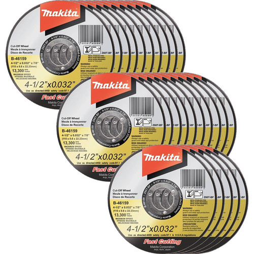 Makita B-46159-25 4-1/2 in. x .032 in. x 7/8 in. Ultra Thin Cut-Off Grinding Wheel (25-Pack)