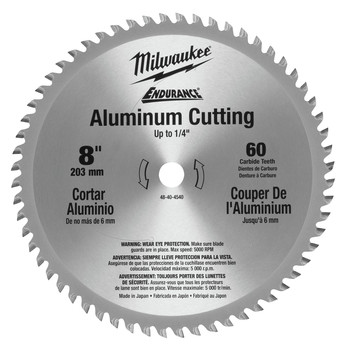 Milwaukee 48-40-4540 8 in. Aluminum Circular Saw Blade (60 Tooth) image number 0